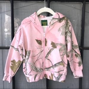 Cabela's pink and camo (Realtree) zip front hoodie